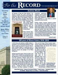 Illinois State Archives Newsletter, Fall 2016