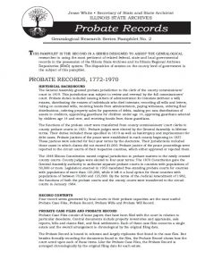 Probate Records pamphlet