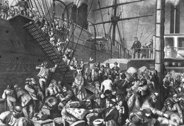 German immigrants boarding ship headed for the U.S. (Library of Congress image)