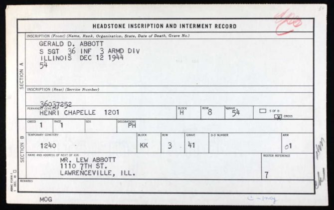 Burial card for Gerald D. Abbott of Lawrenceville, IL