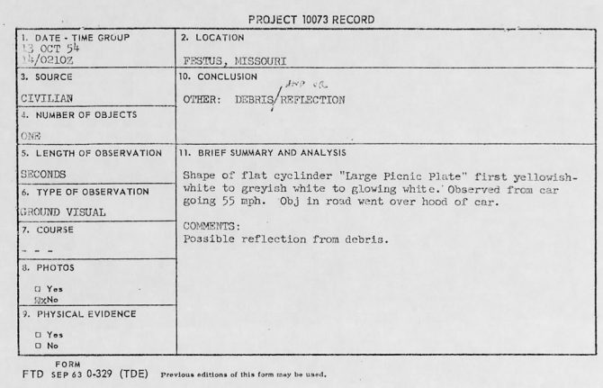 Record card for a UFO sighting near Festus, Missouri (October 1954).