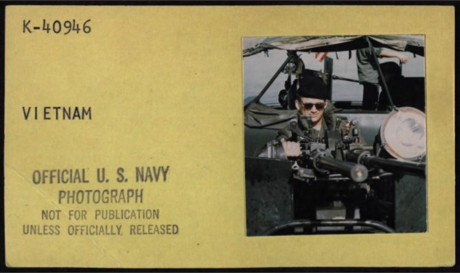 Machine gunneron a Navy Patrol Boat(October 1967).
