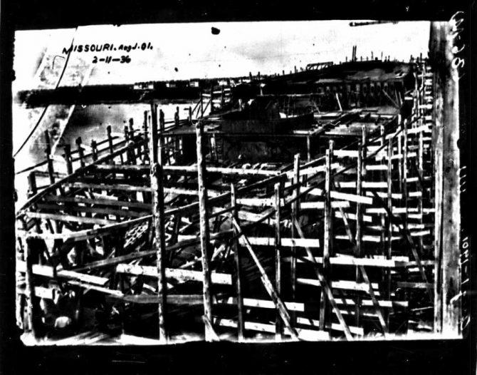 Construction photo for USS Missouri