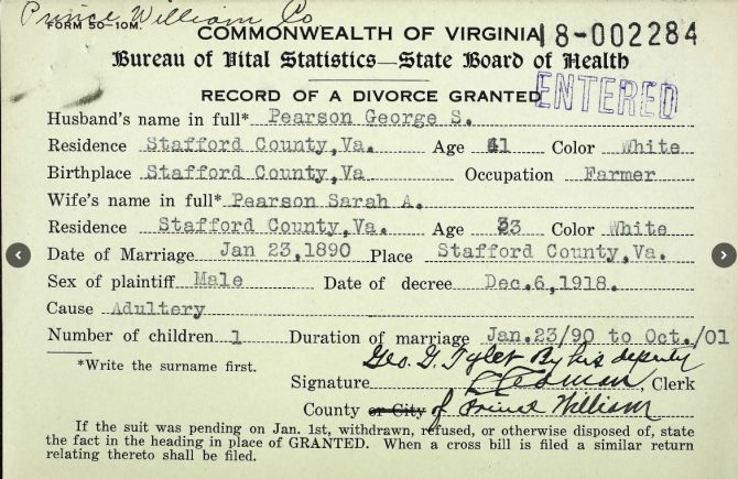 Virginia divorce record (1918)