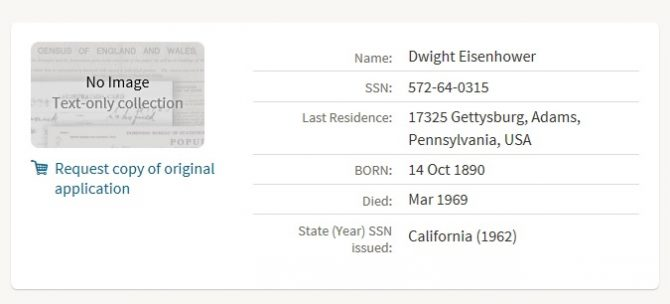 Listing of an SSDI search result in Ancestry.com