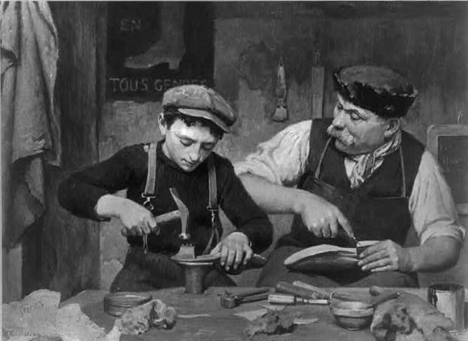 Master cordwainer and apprentice (Library of Congress collection)