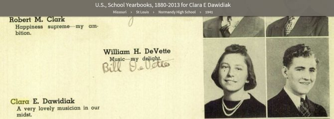 Yearbook listing for Clara E. Dawidiak