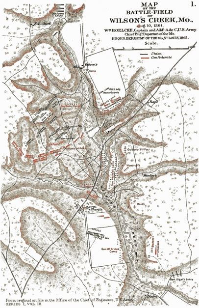 Map of Wilson's Creek battlefield (Library of Congress collection)