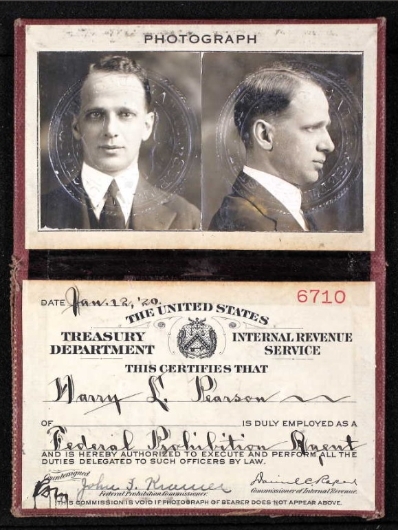 ID Card for Prohibition Agent Harry L. Pearson