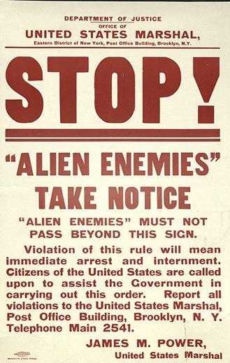 Alien Enemies Take Notice (sign in New York City--NY.gov photo)
