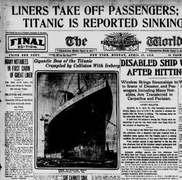 Newspaper headline about the Titanic disaster (LOC.gov photo)