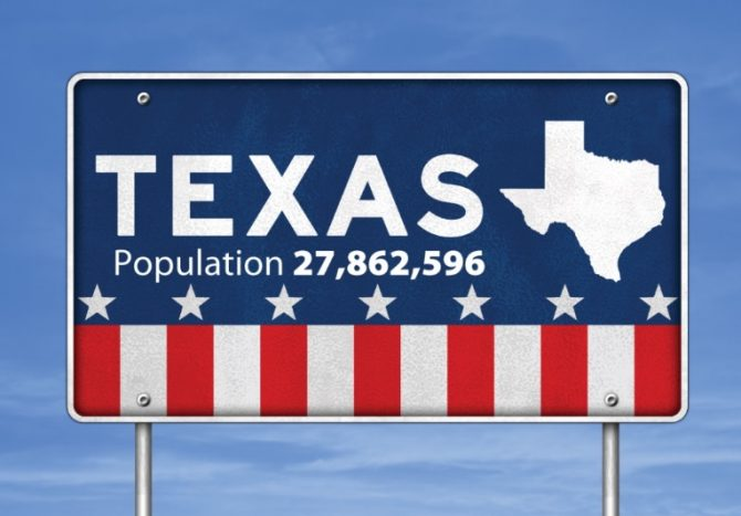 Texas population sign (Census.gov photo)